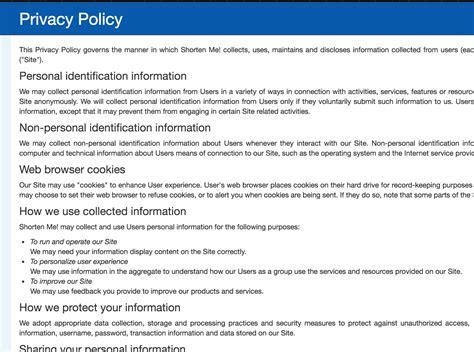 隱私權政策產生器 Privacy Policy Generator