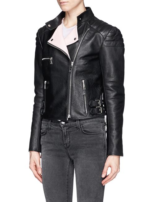 cropped button jacket mcq leather cropped biker jacket in black lyst