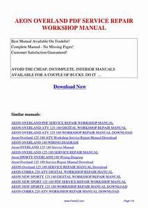Aeon Overland Service Repair Workshop Manual By Jingle