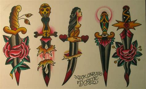 14 Traditional Style Home Decor Ideas That Are Still Cool: Traditional Dagger Tattoo Flash - Nick Carus