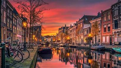 Amsterdam Sunset Canal Netherlands Background Wallpapers Wall
