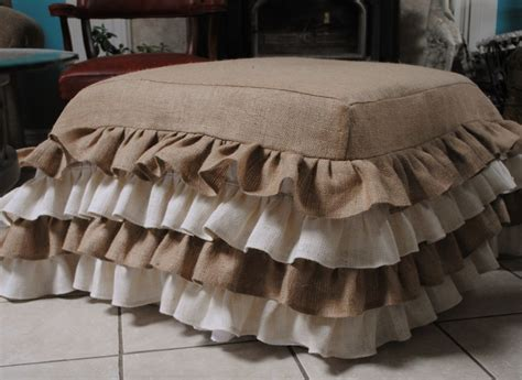 Ottoman Cover, Burlap And Burlap