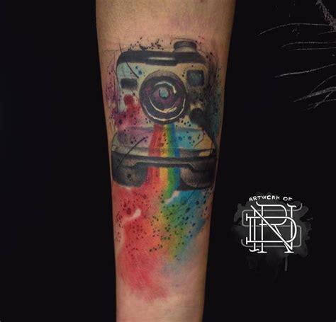 watercolor polaroid camera  tattoo design ideas