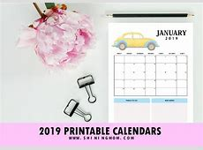 2019 Calendar Free Printable CarThemed Design with