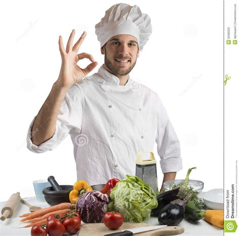 cuisine des chef cuisine of expert chef stock image image of confident