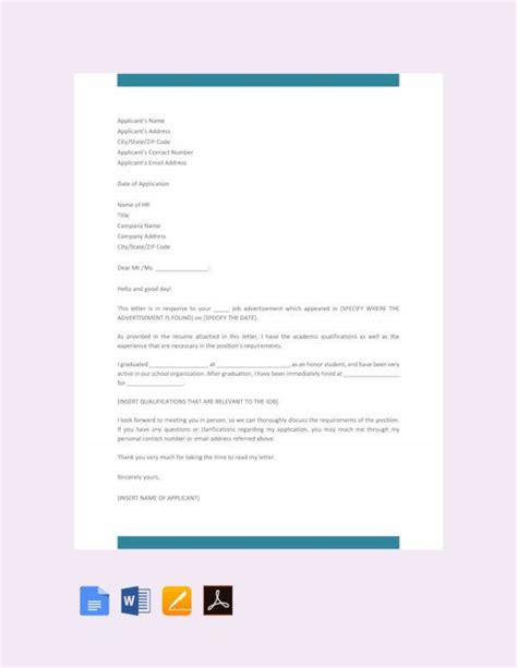 Through such letters, applicants market themselves to the employer, demonstrate their capability for the job, and the value they will bring to the employer. 45+ Job Application Letters in PDF | Free & Premium Templates