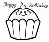 Birthday Coloring Happy Cupcake Pages Cupcakes Easy Drawings Printable Getcolorings Netart sketch template