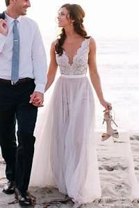 Elegant Scoop Neck Lace A Line Tulles Beach Wedding Dress ...