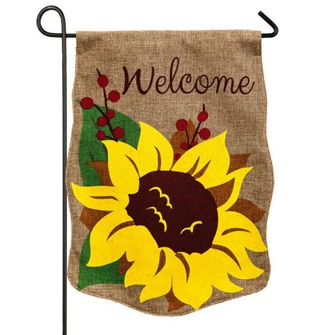 welcome sunflower burlap garden flag fall garden flags