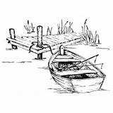 Rowboat Coloring Dock Stamps Template Impressions Sketch Boat Digital Fishing Stamp Anime Card Cards Silhouette Serendipity Beach Wood Burning Landscape sketch template