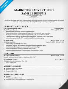 resumes for a marketing marketing advertising resume template resume sles