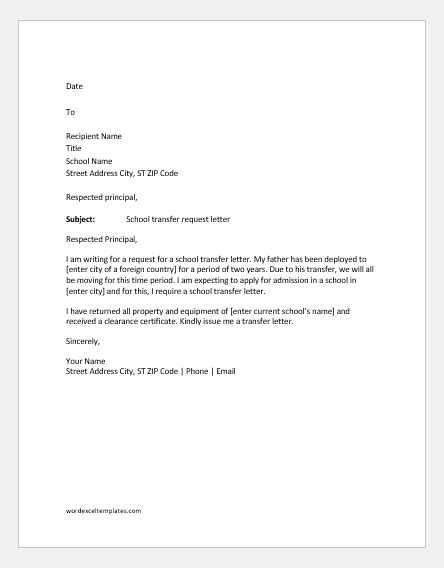 school transfer request letter samples word excel