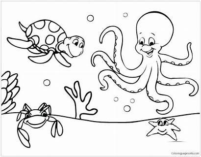 Coloring Pages Animal Sea Printable Getcolorings Marine