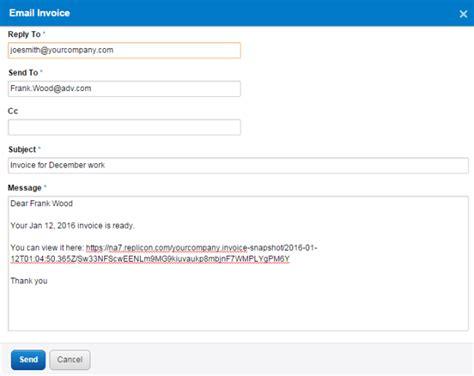 sending  invoice   client replicon