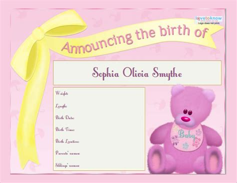birth announcement templates sample templates