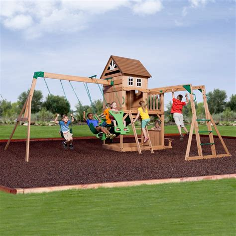 Backyard Discovery Cedar View Swing Set by Montpelier Wooden Swing Set Playsets Backyard Discovery