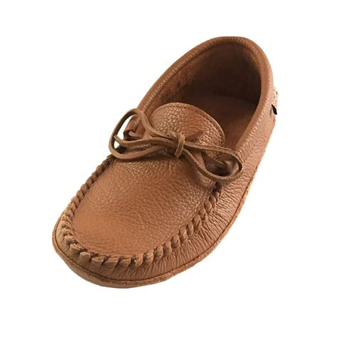 genuine leather mittens mens soft sole brown leather laurentian chief moccasins
