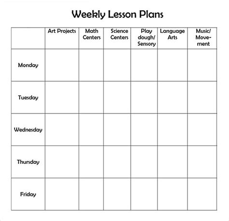 sample weekly lesson plans  google docs ms