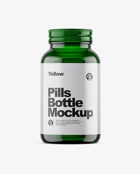 This beauty bottle mockup is perfect to display your makeup brand, don't you think? Dark Green Glass Bottle With Pills Mockup - Dark Green ...