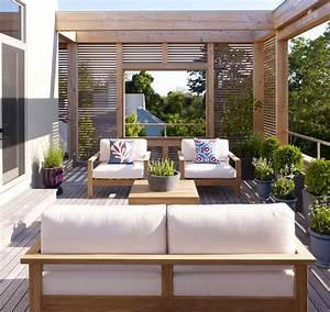 balkon sichtschutz aus holz 50 ideen fur balkongestaltung With markise balkon mit tapet living modern