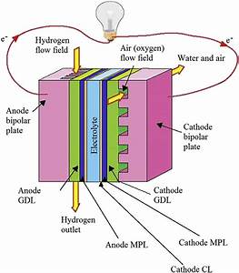 E Schematic View Of A Typical Hydrogen Pem Fuel Cell And