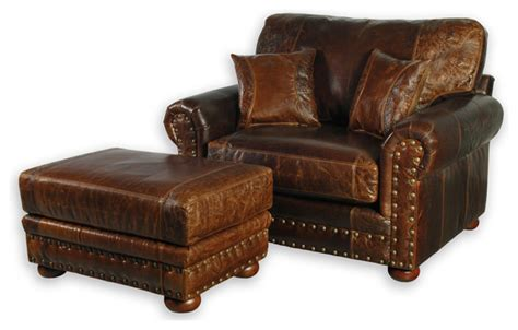 oversized accent chair and ottoman western style leather oversized chair southwestern