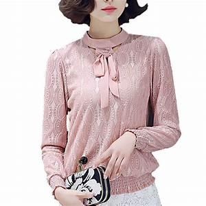2017 Korean Formal OL Check Crochet Chiffon Blouse Shirt ...