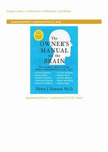Pdf  The Owner U0026 39 S Manual For The Brain  The Ultimate