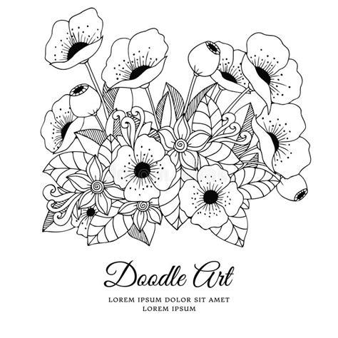 vector illustration zentangl flowers poppies doodle