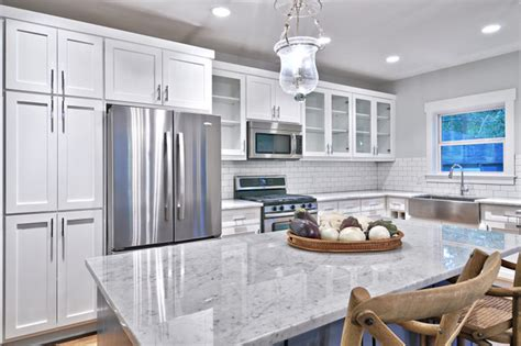 gray kitchens with white cabinets classic gray and white kitchen craftsman kitchen 6910