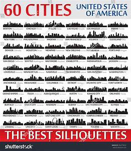 Incredible Skyline Set 60 City Silhouettes Stock Vector ...