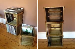 Meuble Pour Vinyle : caissons en bois pour ranger vinyles ~ Teatrodelosmanantiales.com Idées de Décoration