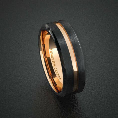 tungsten wedding band mens ring  tone rose gold black