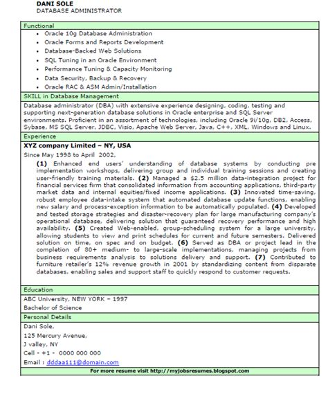 Pl Sql Performance Tuning Resume by Fresh And Free Resume Sles For Database Administrator Cv Resume Bio Data