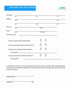 sample employee application form 11 free documents in pdf With documents for new employment