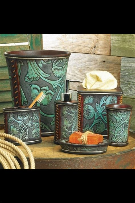 Rustic Bathroom Set by Western Decor Floral Tooled Turquoise Bathroom Accessory