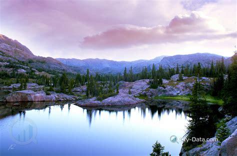 sunrise   high mountain lake  wyoming