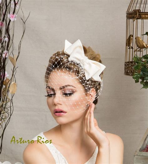 Cute Ivory Bridal Bow With Veil Wedding Hat By