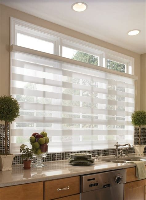 sheer horizontal kitchen shades  wide windows blinds