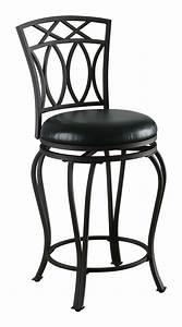 Coaster, 122059, Swivel, Metal, And, Black, Leatherette, Bar, Stool