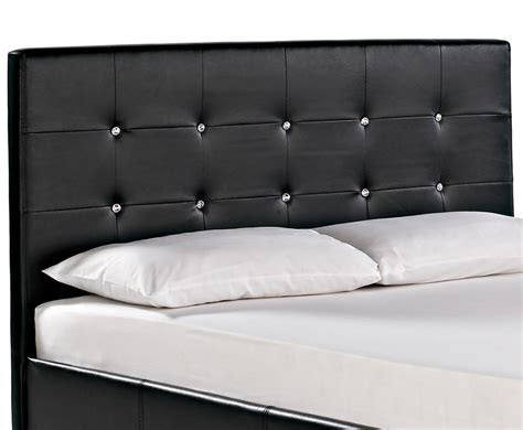 Black Leather Headboard With Diamonds by Black Faux Leather Bed