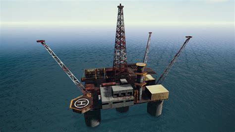 Oil Rig Off The Coast Of Miramar Full Color Closeup. If