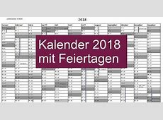 Kalender 2018 mit Feiertagen Download Freewarede