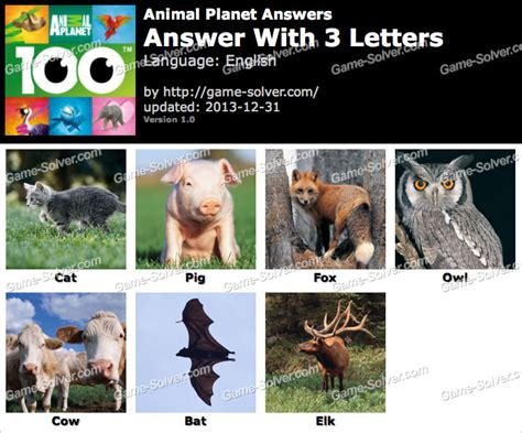 3 letter animals animals with 3 letters levelings 41940