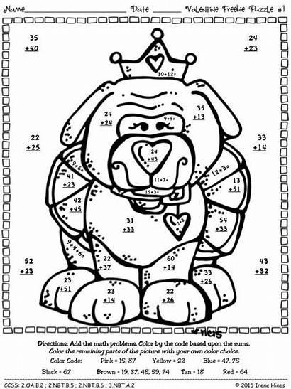 Math Valentine Grade Puzzles Code Printables Coloring