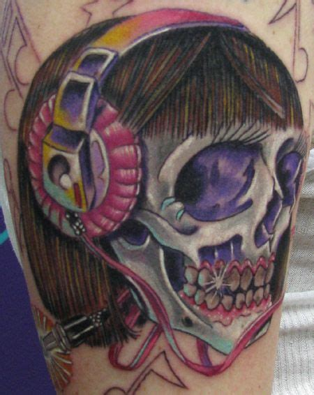 musical skull tattoo  girls  headphones