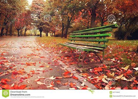 wooden sofa   fantasy autumn season stock photo image