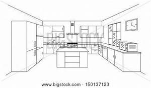 Sketch modern kitchen plan with island Single point