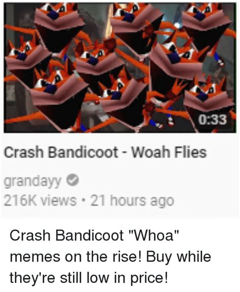 Crash Meme - 033 crash bandicoot woah flies grandayy 216k views 21 hours ago crash bandicoot meme on sizzle