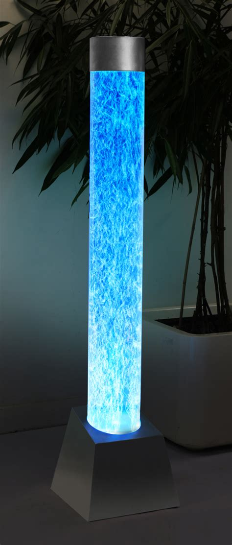 ft ins acrylic bubble tube water feature  stainless steel base  colour changing